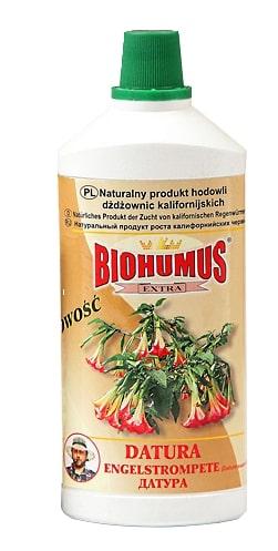 Biohumus Extra Daturajest produktem znakomicie wpływającym na wzrost, kondycję i zdrowie datur (bieluni). Nawóz dostarcza wszystkie składniki niezbędne do optymalnego wzrostu datur i powoduje, że kwitnienie roślin jest wyjątkowo obfite i długotrwałe a wybarwienie liści i kwiatów intensywne.Stosowanie:przy każdorazowym zapotrzebowaniu na wodę, 3-4 nakrętki na 1 litr wody