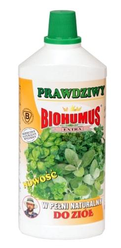 Biohumus Extra do Ziółzawiera bogatą mikroflorą bakteryjną, próchnicę pokarmową, oraz inne składniki niezbędne do prawidłowego i szybkiego wzrostu ziół. Stosowany w uprawie ziół poprawia ich walory smakowe. Jest nawozem bezpiecznym, naturalnym, nieprzedawkowalnym. Nie zawiera chemii.Stosowanie:przy każdorazowym zapotrzebowaniu na wodę, 3-4 nakrętki na 1 litr wody