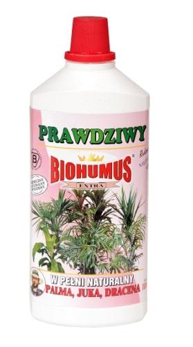 Biohumus Extra Palma Juka Dracenajest płynnym, łatwo przyswajalnym nawozem naturalnym znakomicie wpływającym na wzrost, kondycję i zdrowie wszelkich odmian palm, jukk i dracen. Zapewnia bujny wzrost, intensywne wybarwienie liści oraz zwiększa odporność na choroby i szkodniki. Nawozy Biohumus Extra to nawozy naturalne pochodzące z odchodów dżdżownic kalifornijskich.Stosowanie:Przy każdorazowym zapotrzebowaniu na wodę, 3-4 nakrętki na 1 litr wody.