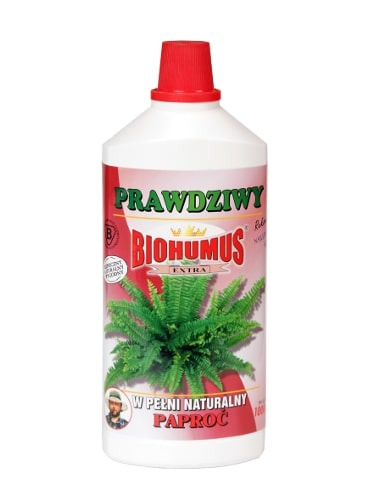 Biohumus Extra Paproćjest produktem najwyższej jakości z bardzo bogatą mikroflorą bakteryjną oraz próchnicą pokarmową co znakomicie wpływa na wzrost, kondycję i zdrowie wszelkich odmian paproci. Wzmacnia system samoobrony roślin, warunkuje ich prawidłowy rozwój, powoduje lepsze ukorzenienie, przyspiesza wzrost oraz zapewnia intensywną, świeżą zieleń i ładny pokrój paproci.Stosowanie:Przy każdorazowym zapotrzebowaniu na wodę, 3-4 nakrętki na 1 litr wody.