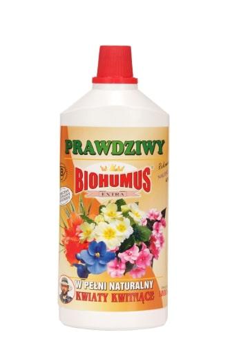 Biohumus Extra Kwiaty Kwitnącejest naturalnym nawozem płynnym najwyższej jakości z bardzo bogatą mikroflorą bakteryjną oraz próchnicą pokarmową, które znakomicie wpływają na wzrost, kondycję i zdrowie wszelkich odmian kwiatów kwitnących. Produkt ten zapewnia obfite i długotrwałe kwitnienie oraz intensywne wybarwienie liści i kwiatów.Stosowanie:Przy każdorazowym zapotrzebowaniu na wodę, 3-4 nakrętki na 1 litr wody. Nawozy Biohumus Extra to nawozy naturalne pochodzące z odchodów dżdżownic kalifornijskich.