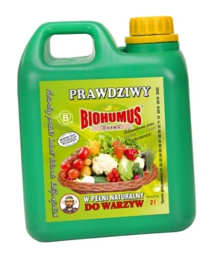 Biohumus Extra do WarzywBiohumus Extra do Warzyw to w pełni naturalny nawóz przeznaczony do upraw warzyw. Nie zawiera chemii. Posiada bardzo bogatą mikroflorę bakteryjną. Powoduje lepsze ukorzenienie roślin, lepszy start nasion i zdrowy rozwój roślin co przeciwdziała chorobom. Stosowany w uprawie warzyw poprawia ich walory smakowe i jakościowe.Stosowanie:po wysianiu nasion: rozcieńczyć 0,3 l Biohumusu Extra do Warzyw w 10 l wody i takim roztworem podlewać grządki konewką na powierzchni 5-10 m2,